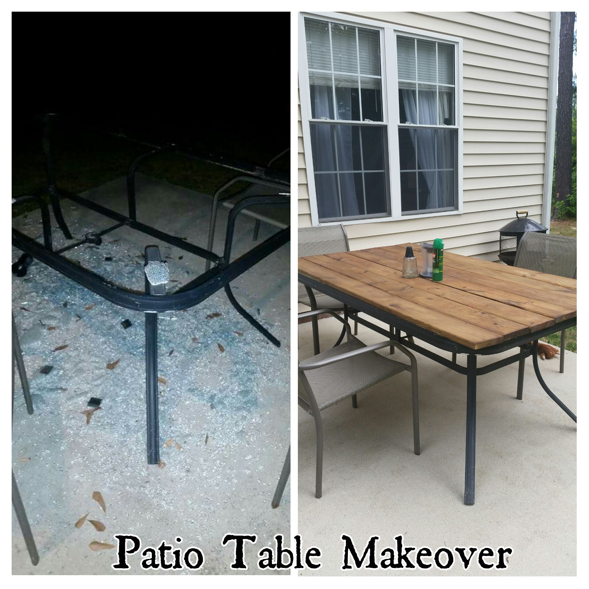 High Quality Patio Table Makeover, Shattered Glass, Redo