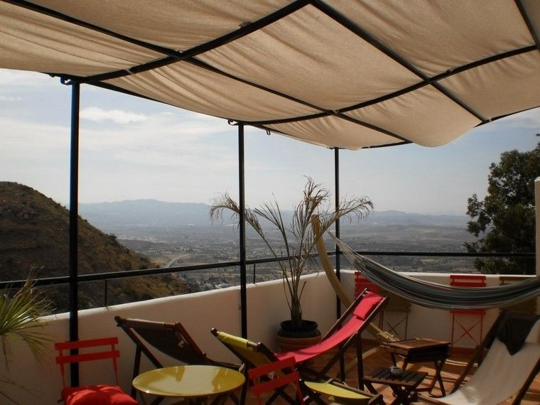 pérgolas jardines terrazas tela protege sol ideas Jardín - jardines en terrazas