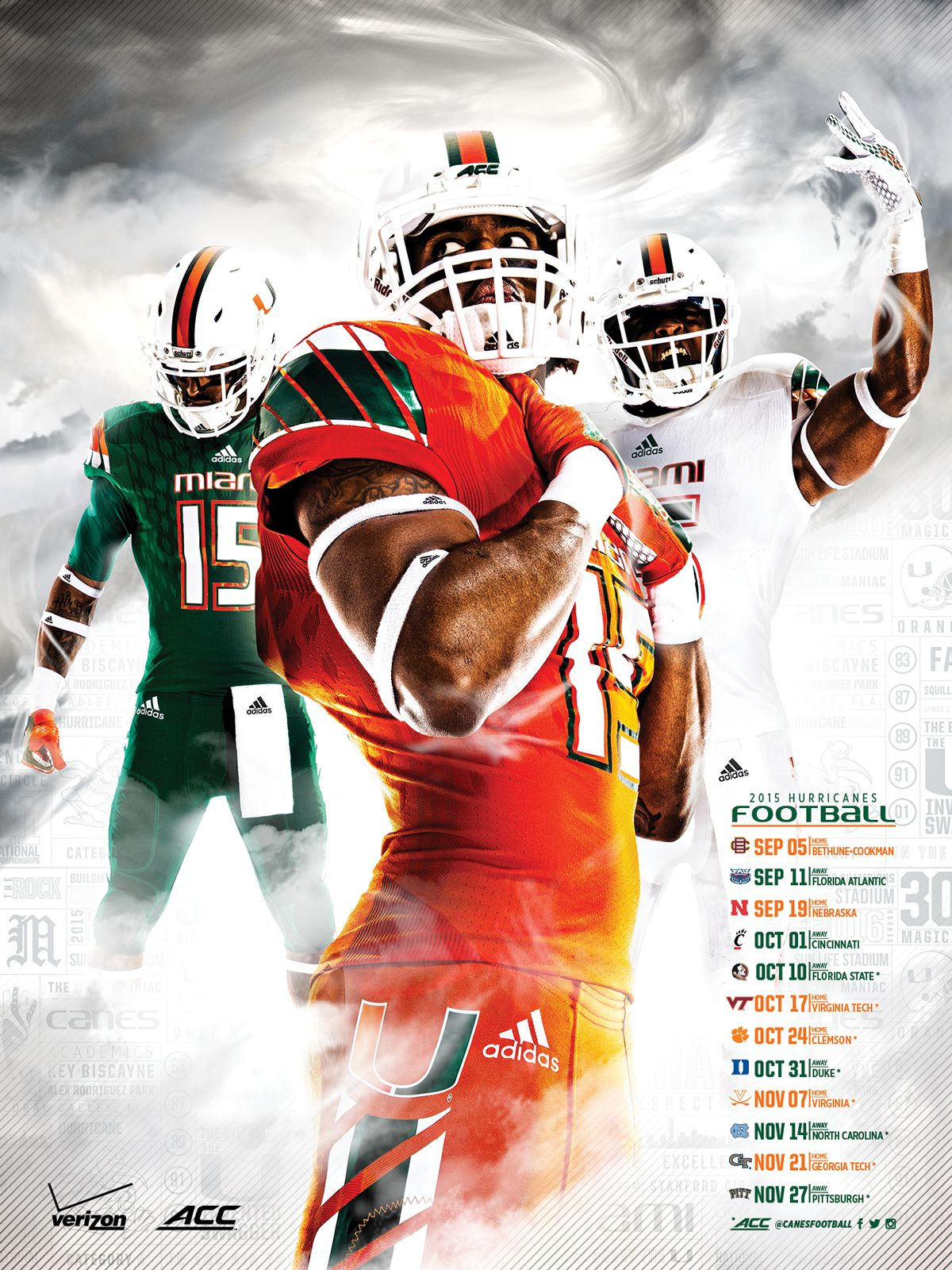 Miami Hurricanes Football Poster On Behance Miami Hurricanes Football Hurricanes Football Football Poster