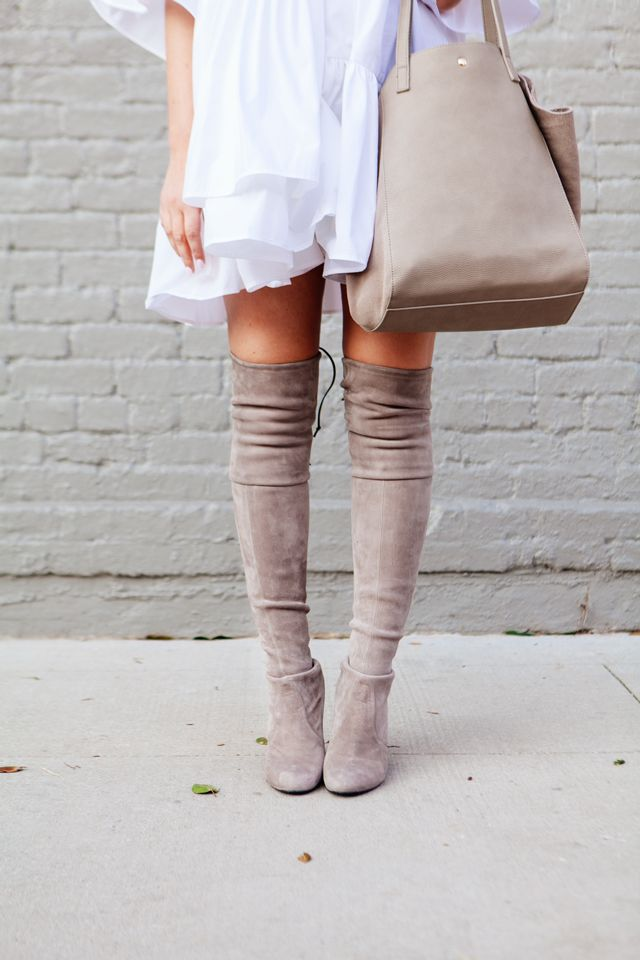 2190573af67 ASOS Layered Frill Hem Oversize Shirt with nude over the knee boots on  Kendi Everyday.