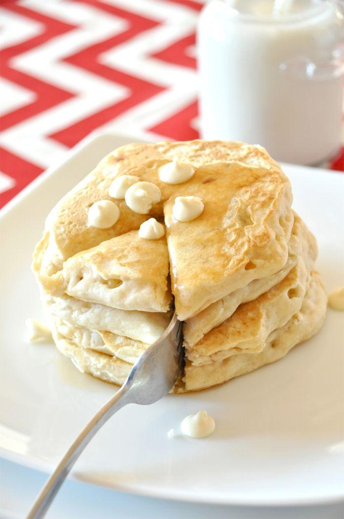 white chocolate macadamia nut pancakes! by minimalist baker