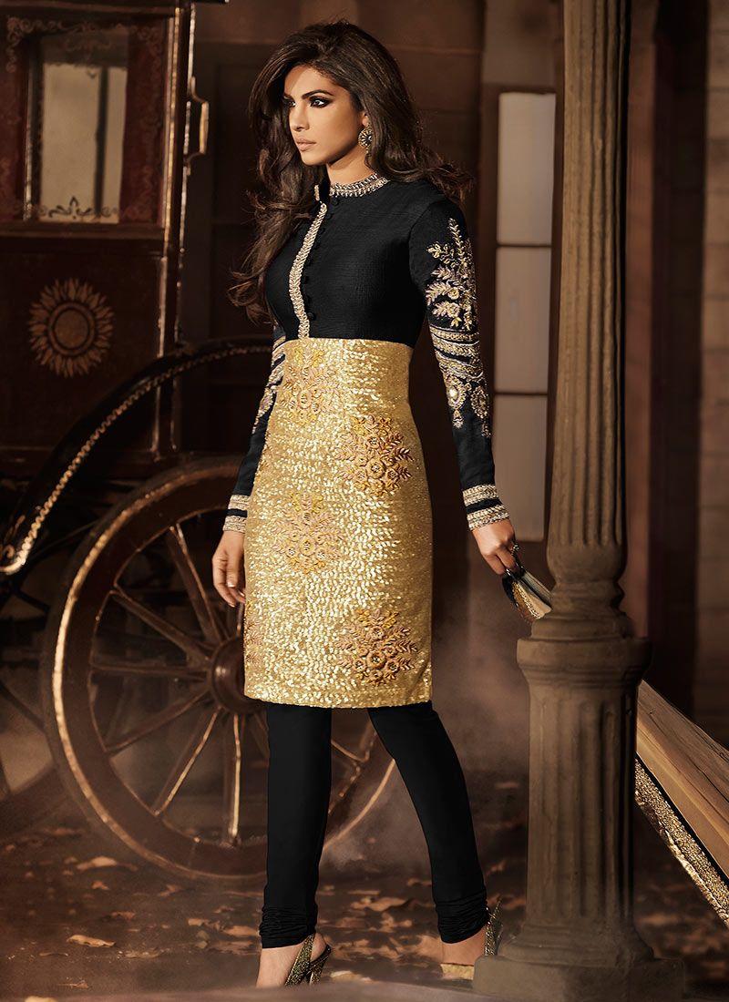 Golden N Black Priyanka Chopra Churidar Suit online from the wide ...