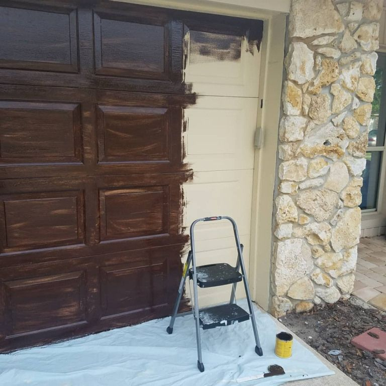 Pressure Washing and Gel Stain on Garage Door House