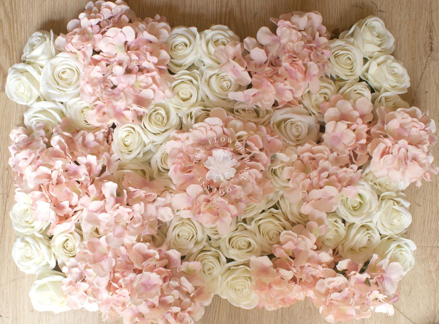 Blush pink and cream rose hydrangea floral backdrop flower