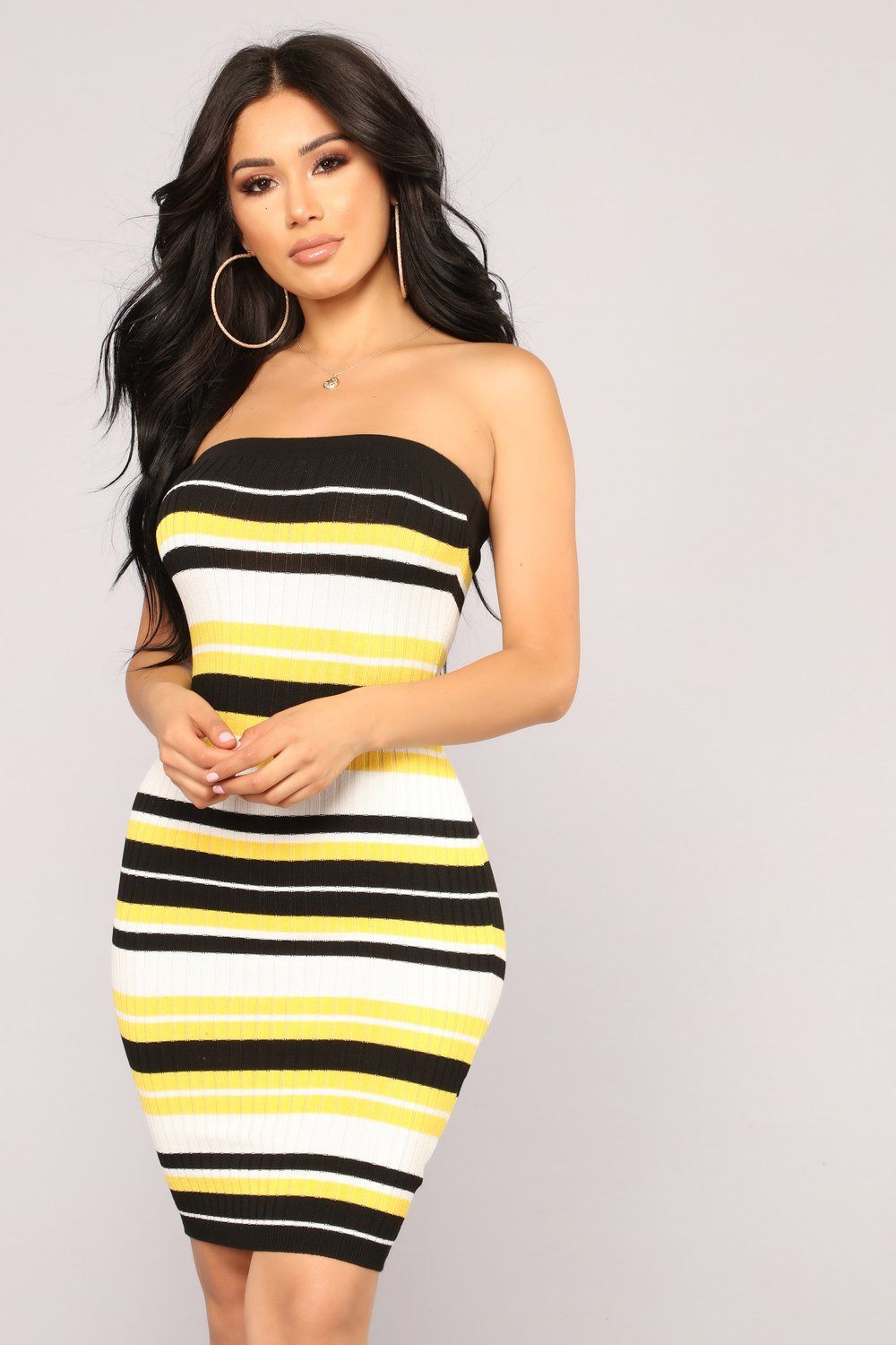 36221a83bd Honey Stripe Dress - Black Yellow