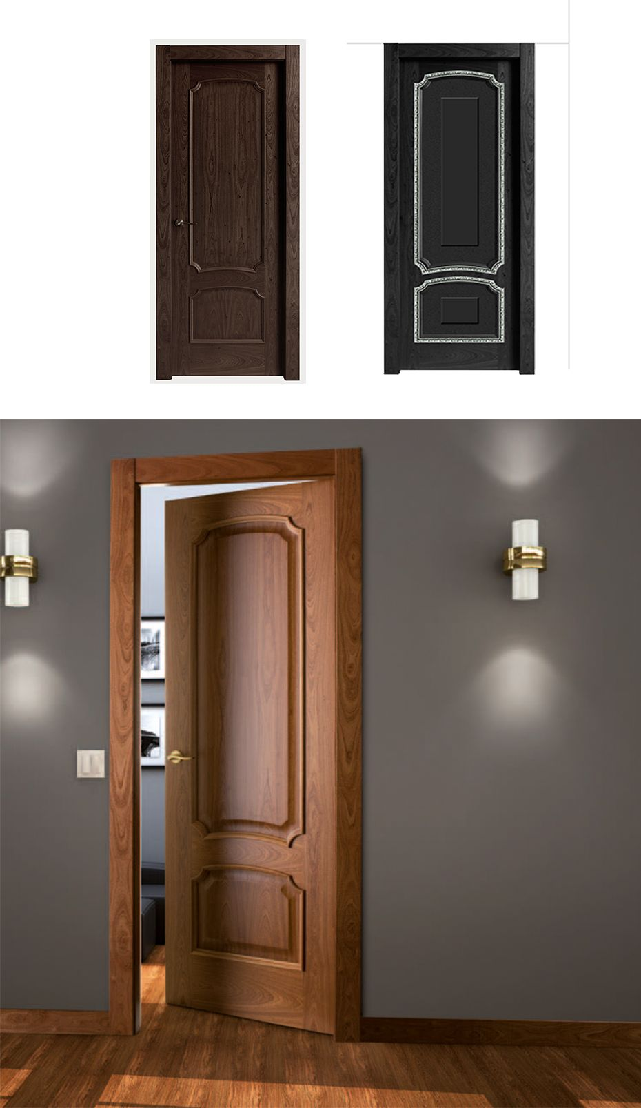 Puerta de interior oscura modelo fusa de la serie for Puertas castalla