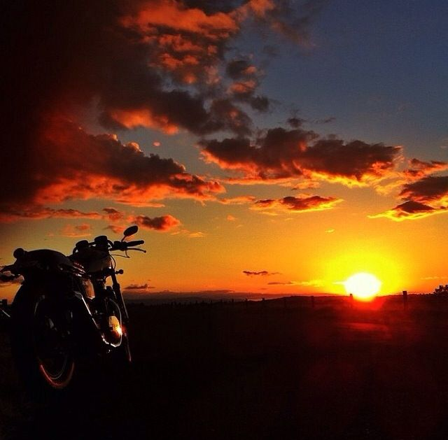 sunset, rider, bikes, speed, cafe racers, open road ...