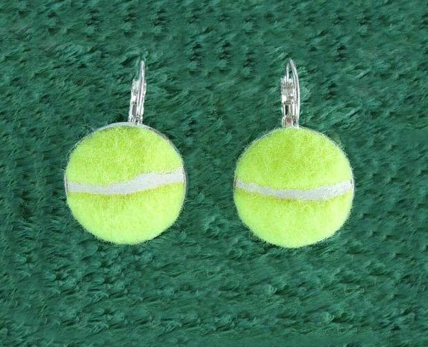 These Earrings Are Handcrafted Using A Real Tennis Ball How