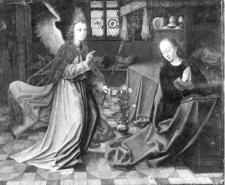 Annunciatie | Antwerpen[deelgemeente], Koninklijk Museum voor Schone Kunsten | Maître des Portraits Baroncelli (kunstschilder) (toegeschreven), Date: 1500 (ca) - 1500 (ca), onbekend (kunstschilder)