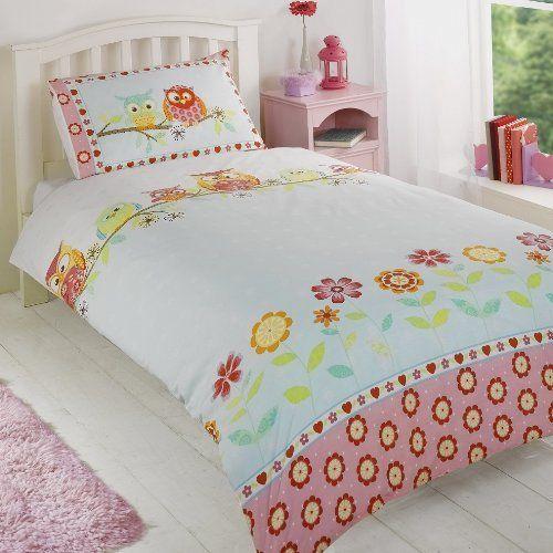 OWLS HOOT GIRLS REVERSIBLE DOUBLE BED DUVET COVER QUILT LINEN ... : owl double bed quilt cover - Adamdwight.com