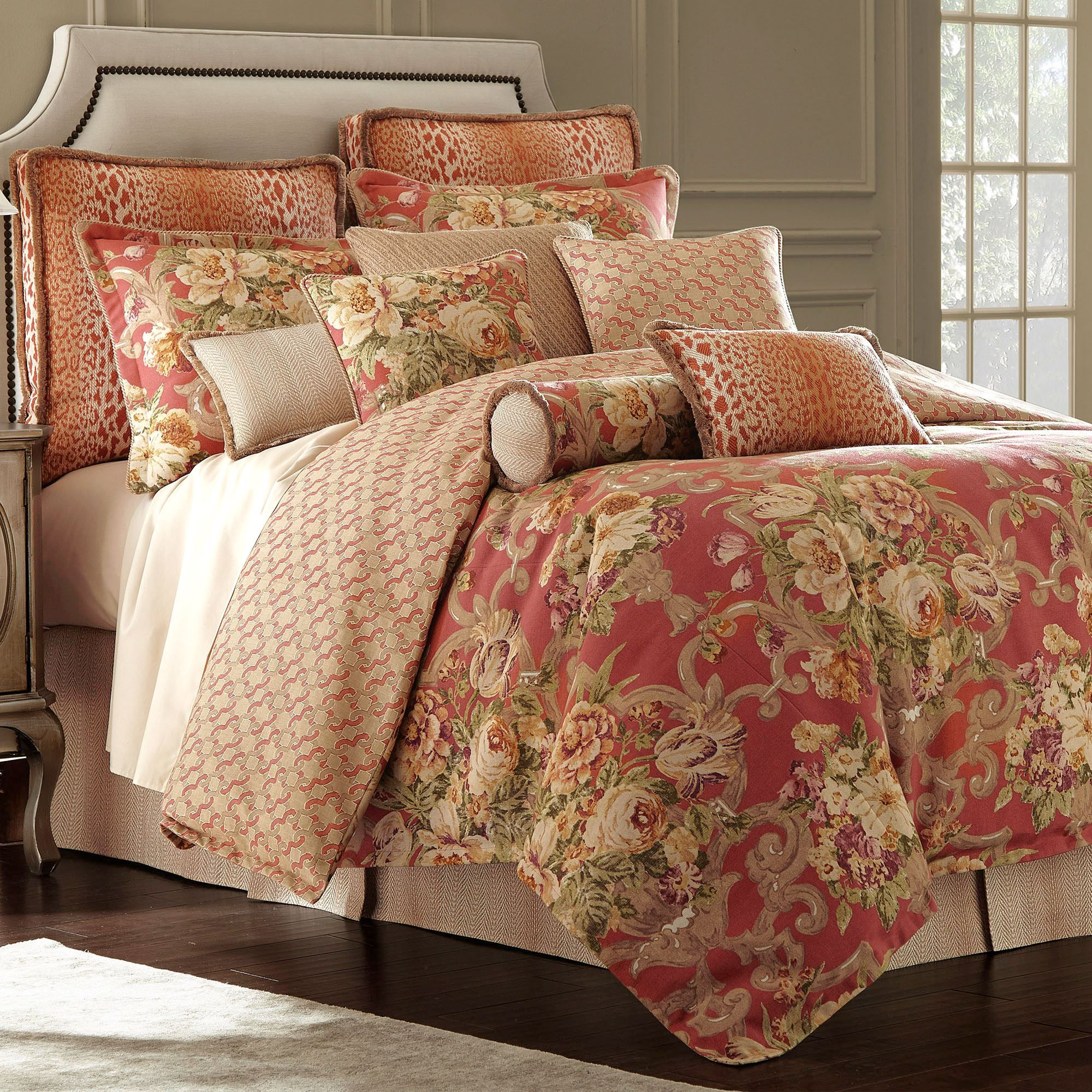 Floral Bouquet Red Comforter Bedding by Rose Tree