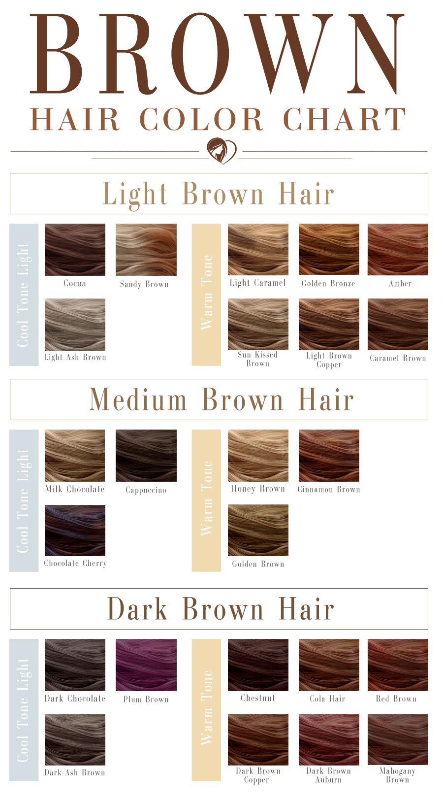 40 Shades Of Brown Hair Color Chart To Suit Any Complexion Brown Hair Shades Brown Hair Color Chart Brown Hair Colors