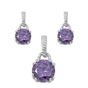 Colored Stone CZ Sterling Silver Pendant & Earring Set