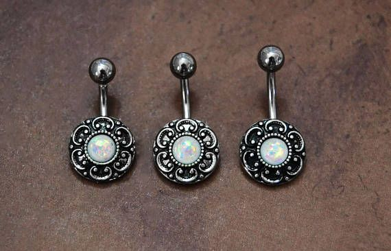 Pretty Sparkling White fire Opal Horse dangle Belly button navel Ring piercing bar body jewelry 14g