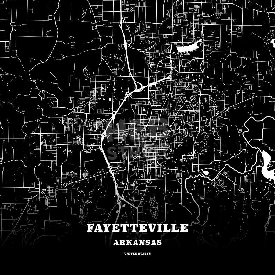 Black map poster template of Fayetteville, Arkansas, USA | Maps ...