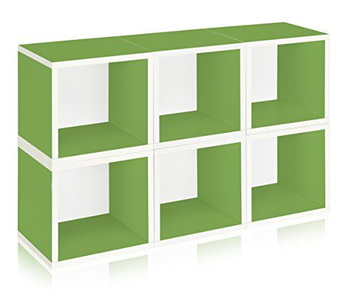 Way Basics Stackable Modular Storage Cubes, Green, 6 Pack