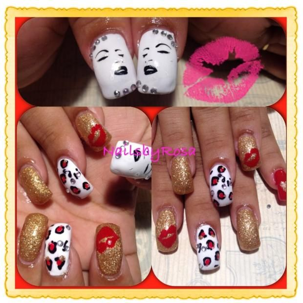 Marilyn Monroe manicure with kisses/lips.   Valentine\'s Day Nails ...