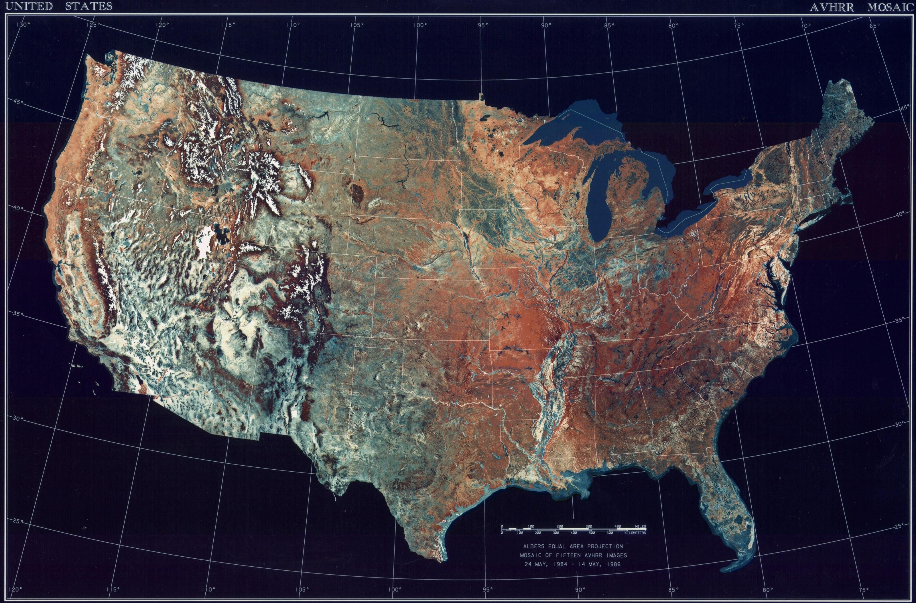 Topographic Map of the Contiguous United States