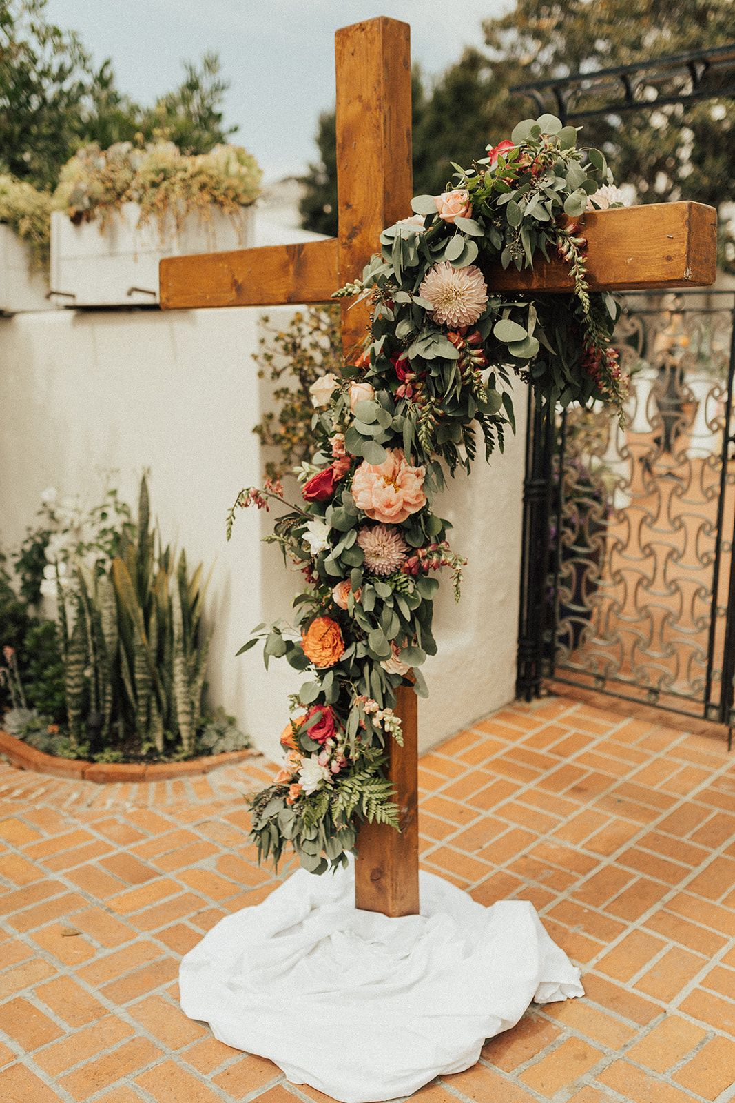 Cross Flower Installation Cross Altar Cross Florals Blush Peach Pink Coral With Peonies Garden Roses Euca Flower Installation Wedding Altars Wedding Arch