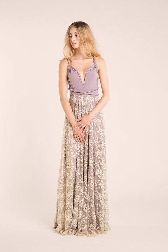 Lace Dress, romantic long dress, dusty pink lace dress, Infinity Bridesmaid dress, maxi lace dress, plus size wedding dress, custom dresses  Choose your