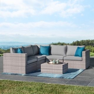 Corvus Tierney Outdoor 6 Piece Aluminum Wicker Sectional Sofa Set