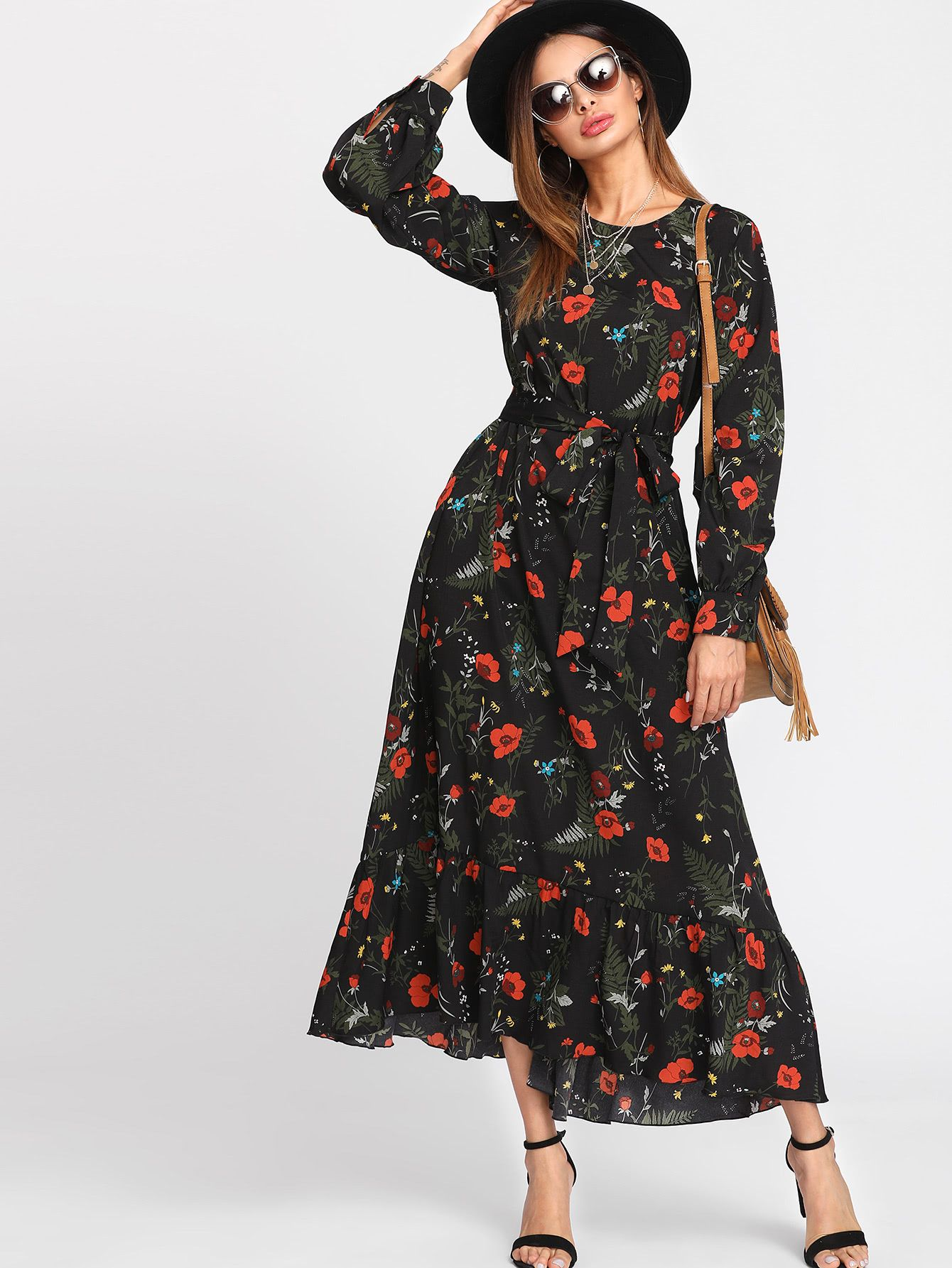 88b53ace265 Shop Botanical Print Belted Hijab Long Dress online. SheIn offers Botanical  Print Belted Hijab Long Dress   more to fit your fashionable needs.