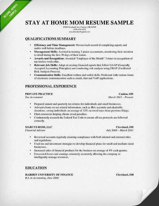 resume and cover letter for stay at home mom
