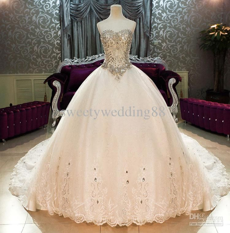 Great Wholesale Crystals Buy Bling Bling Crystals Luxury Sweetheart Lace Applique Cathedral Train Ball Gown Wedding
