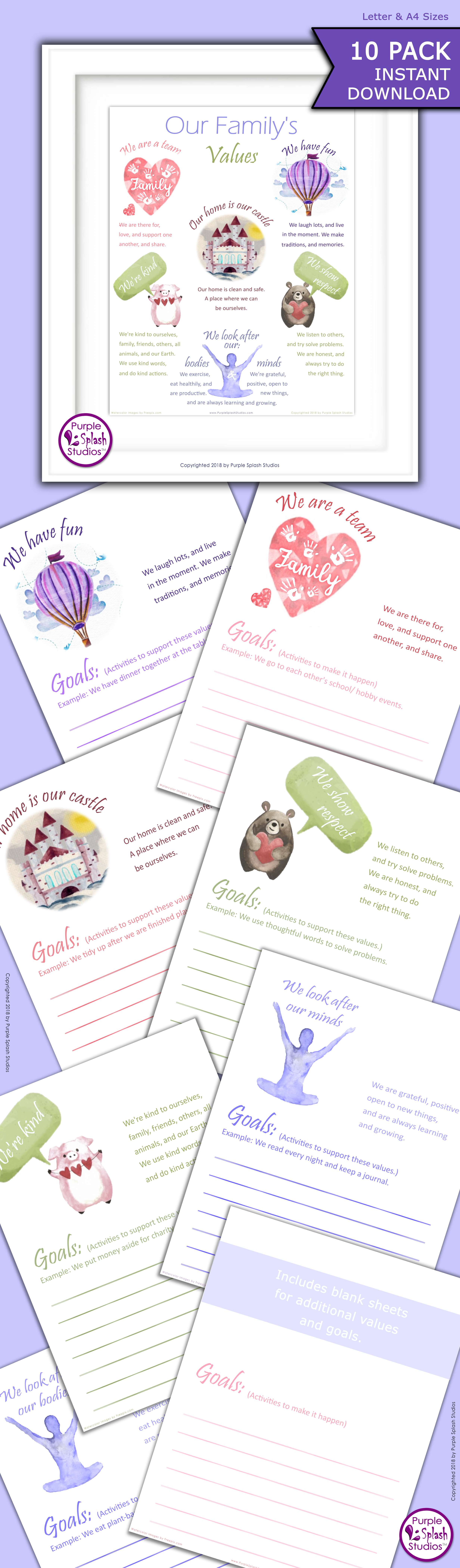 Family Values And Goal Worksheet Printable Pack These