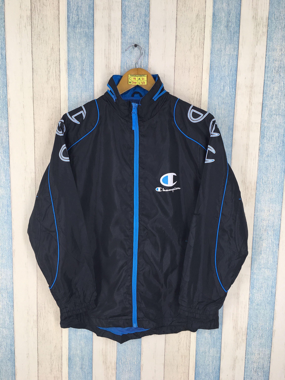 CHAMPION Zip Neck Pullover Windbreaker Jacket Removable Sleeves Gray Men/'s