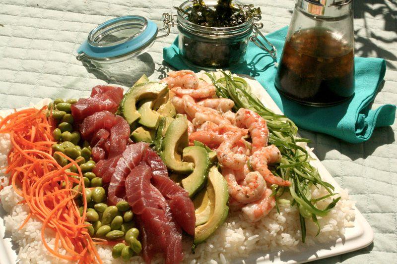 Gluten Free Picnic Sushi Salad with Lemon Wasabi Dressing