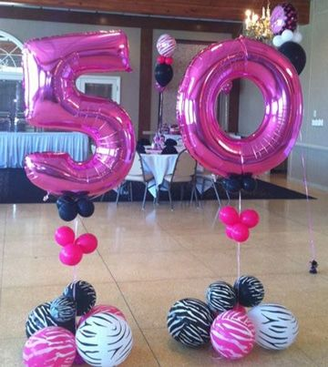 Decoracion de globos para 50 a os para mujer baby shower for Decoracion con globos 50 anos