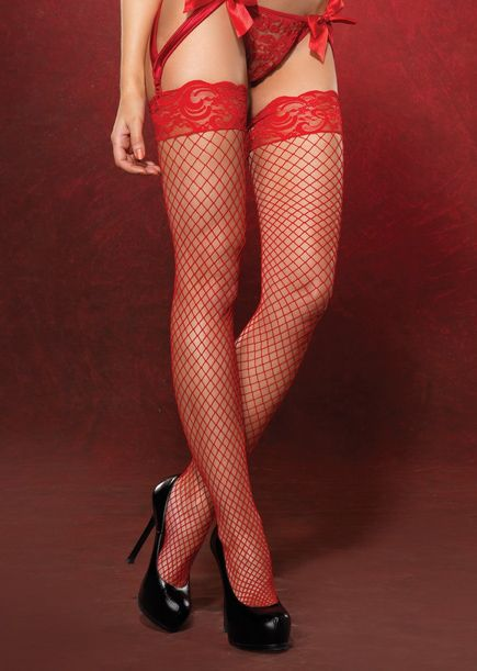 d3cd186f3 Leg Avenue Hosiery 9201 - RED Spandex Industrial Fishnet Thigh Highs with Stay  Up Silicone Lace Tops  9.95