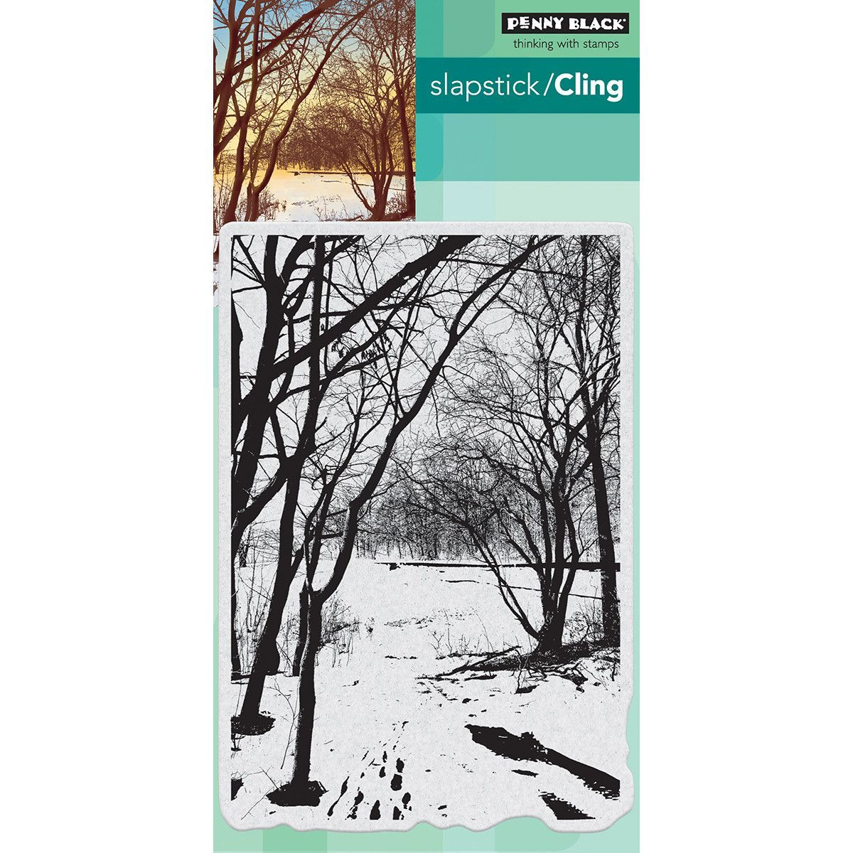 """Penny Black Cling Stamp 5""""x7"""" - Wintry Trail"""