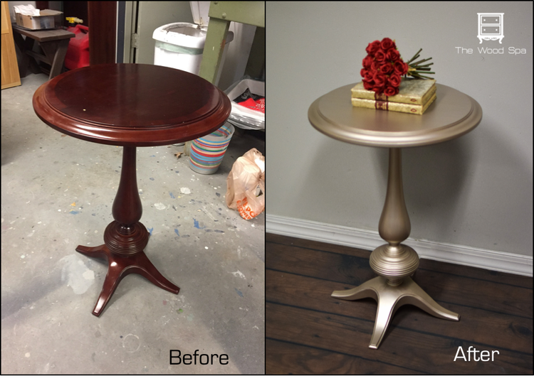 Little Side Table Transformation With Warm Silver Metallic Paint By Modern Masters Project By Wood Side Table Diy Painted Side Tables Office Furniture Modern