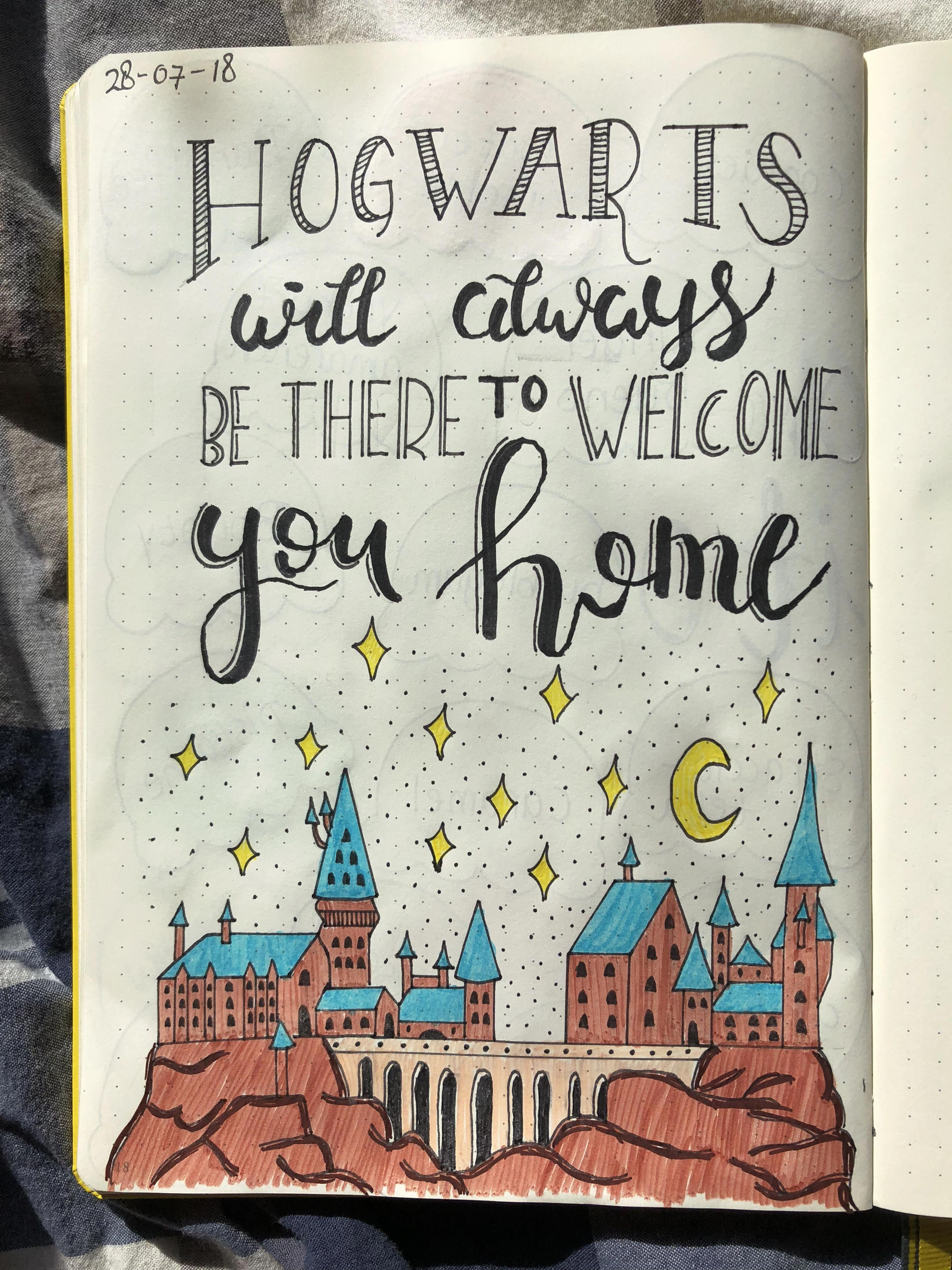 Hogwarts Will Always Be There To Welcome You Home Harry Potter Bullet Journal Bullet Harry Potter Journal Harry Potter Drawings Bullet Journal Inspiration