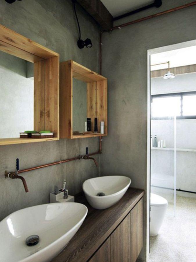 Une salle de bains entre style industriel et atelier - Ustensiles salle de bain ...