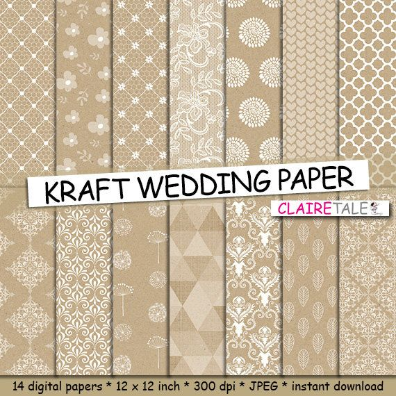 KRAFT WEDDING PAPER background with damask, lace, floral, flowers, hearts, leaves, quatrefoil, dandelions / kraft wedding patterns by clairetale. Explore more products on http://clairetale.etsy.com