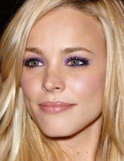purple eyeshadow on Rachel MacAdams