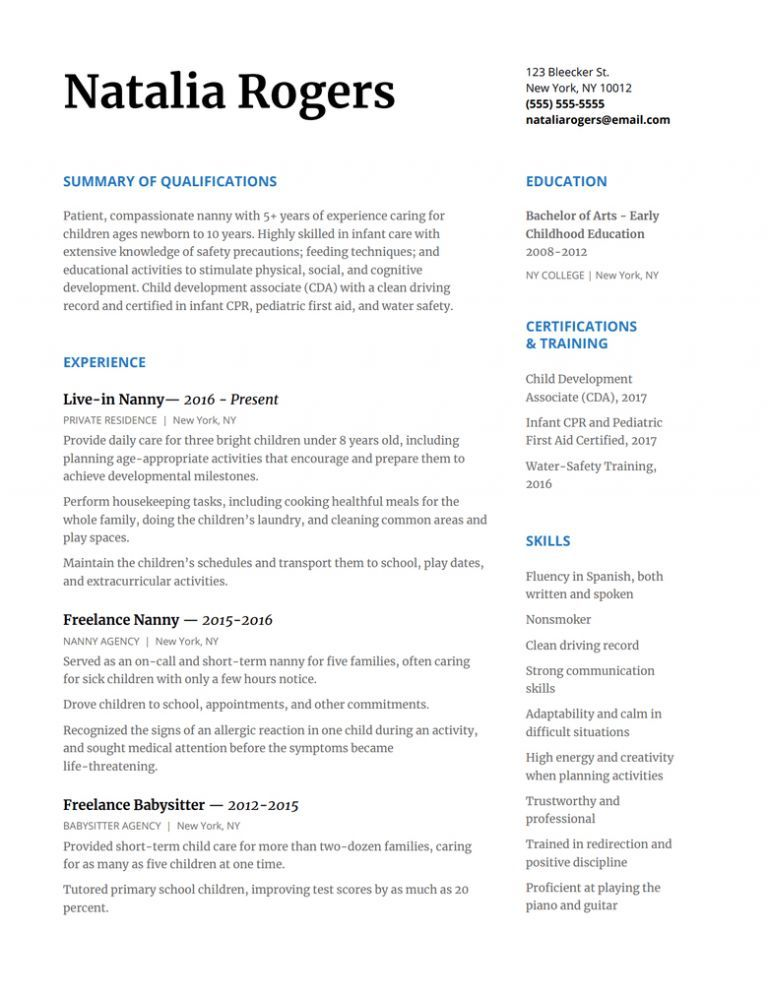 Freelance Photographer Resume Examples Beautiful Photos How To Write A Nanny Resume To Wow Any Family With Resume Templat Resume Skills Resume Examples Resume