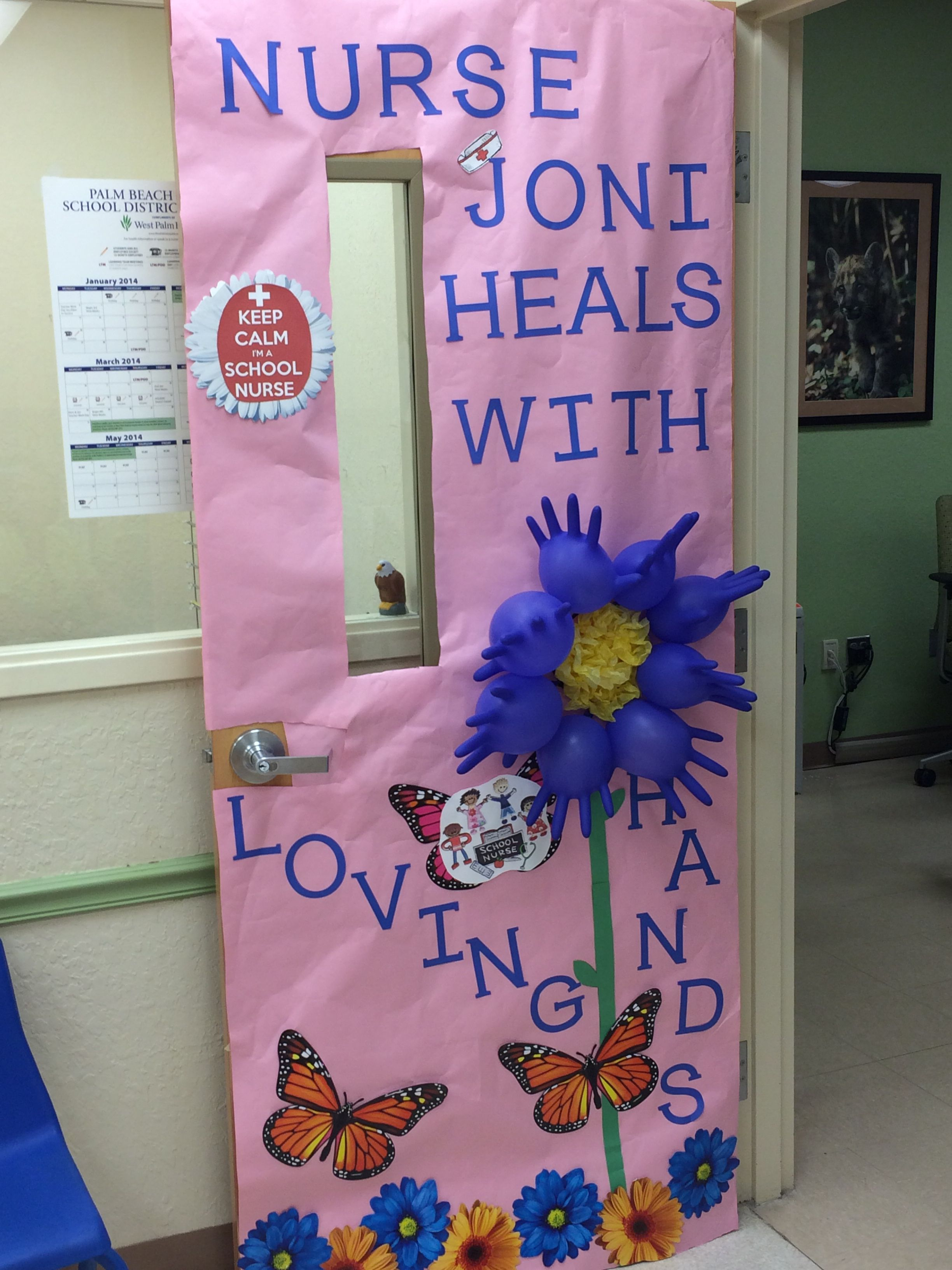 School Nurse Door Design Could Cut Out Hands For Flower Instead Of