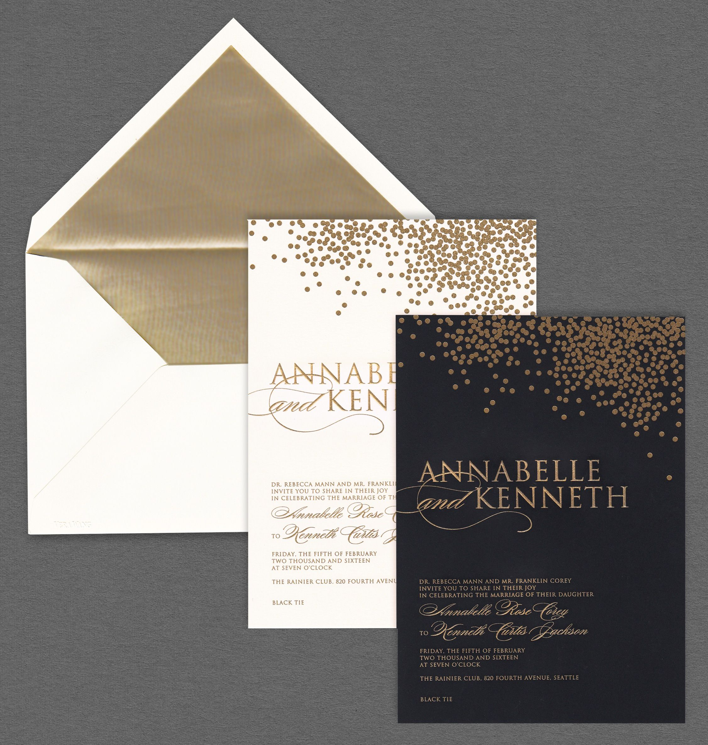 how to address wedding invites%0A Vera Wang oyster and black wedding invitations with gold confetti
