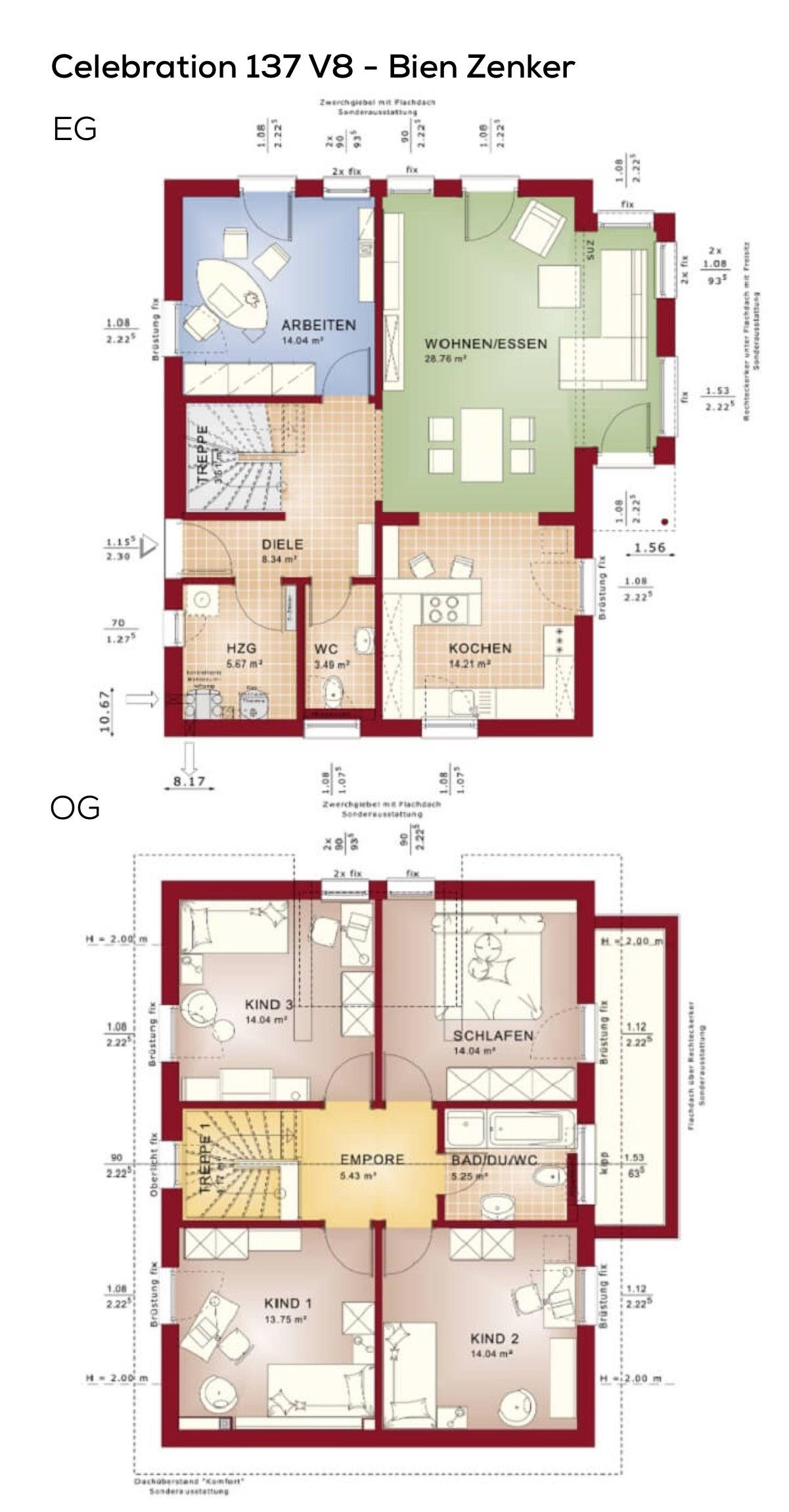 Haus Grundriss länglich mit Satteldach Architektur & Erker