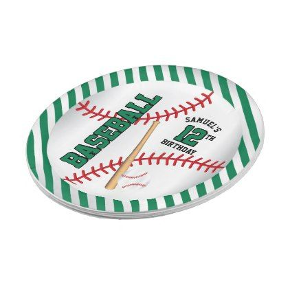 Green Baseball Birthday Design | Personalize Paper Plate - home gifts ideas decor special unique custom  sc 1 st  Pinterest & Green Baseball Birthday Design | Personalize Paper Plate - home ...