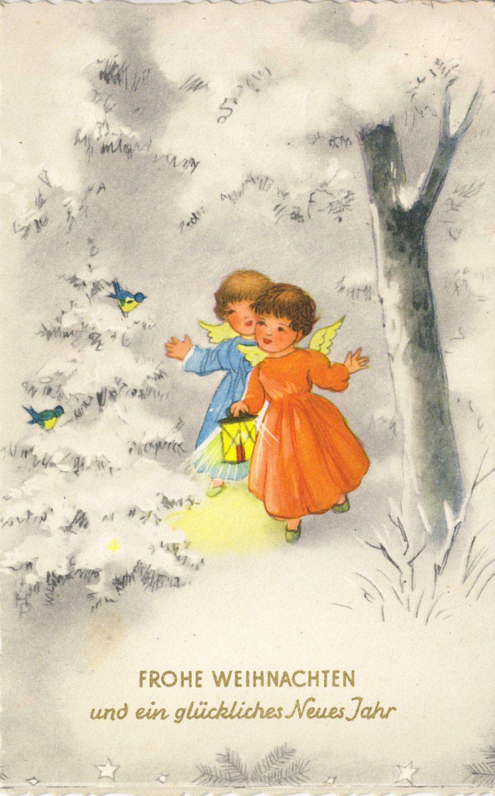 Weihnachten 2 Engel Mit Laterne 1964 Ebay Happy Holidays