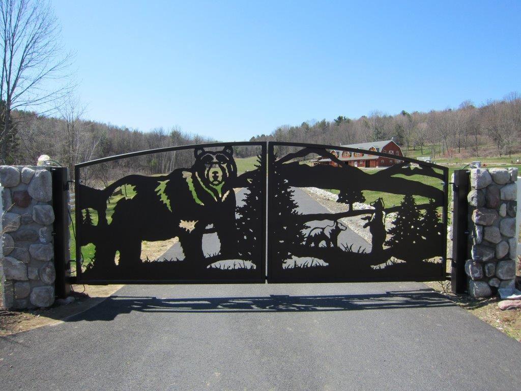 Custom Bear Wildlife Entrance Gate 2 2 Iron Gates