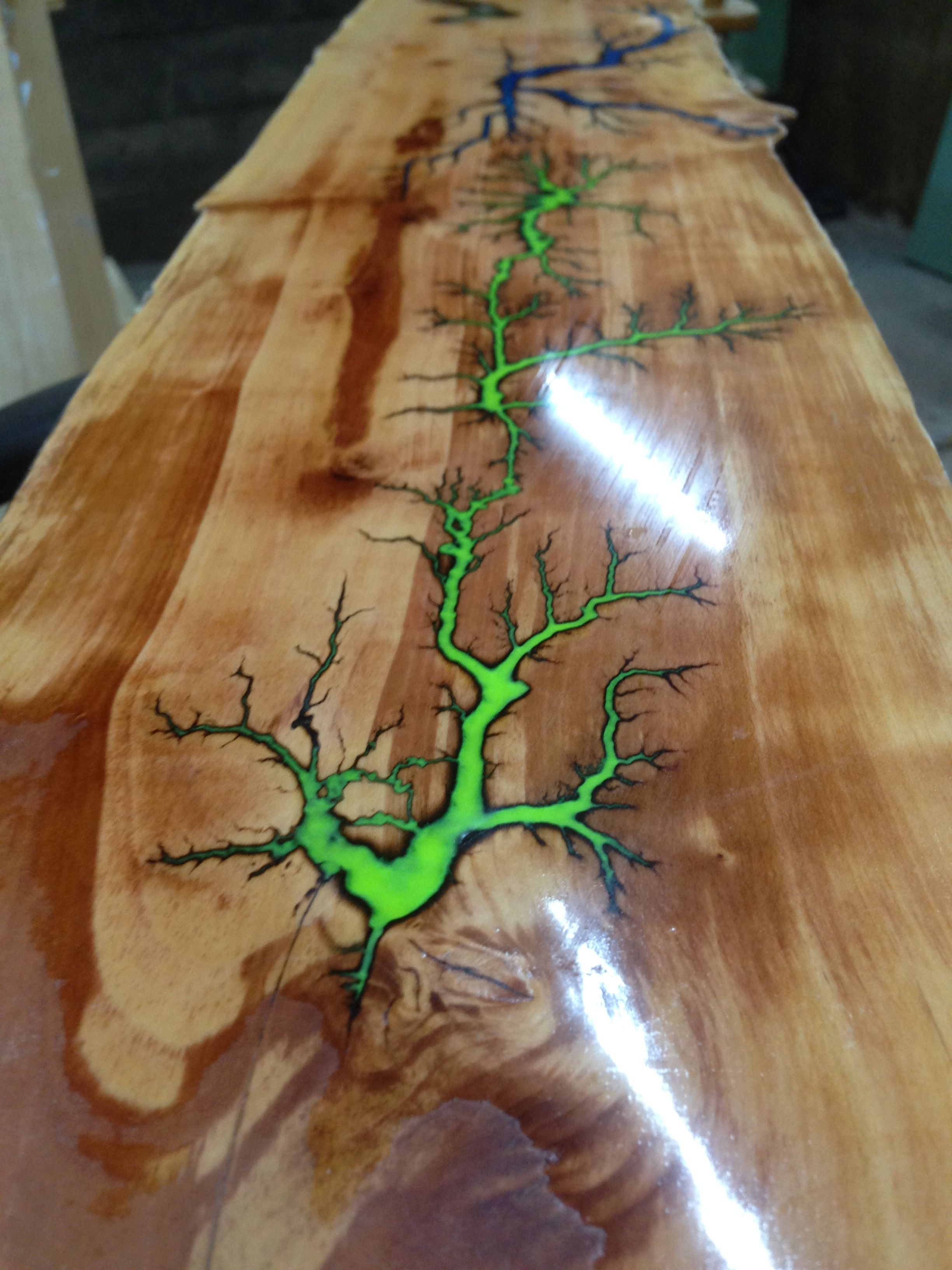 Fractal Burning With Luminous Glow In The Dark Epoxy Resin