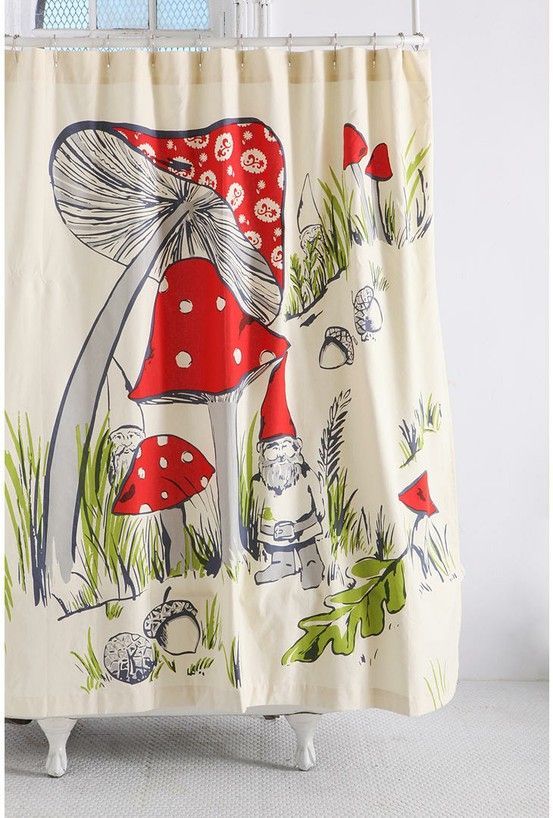 Shower Curtain With Mushrooms And A Gnome Red Cream Green