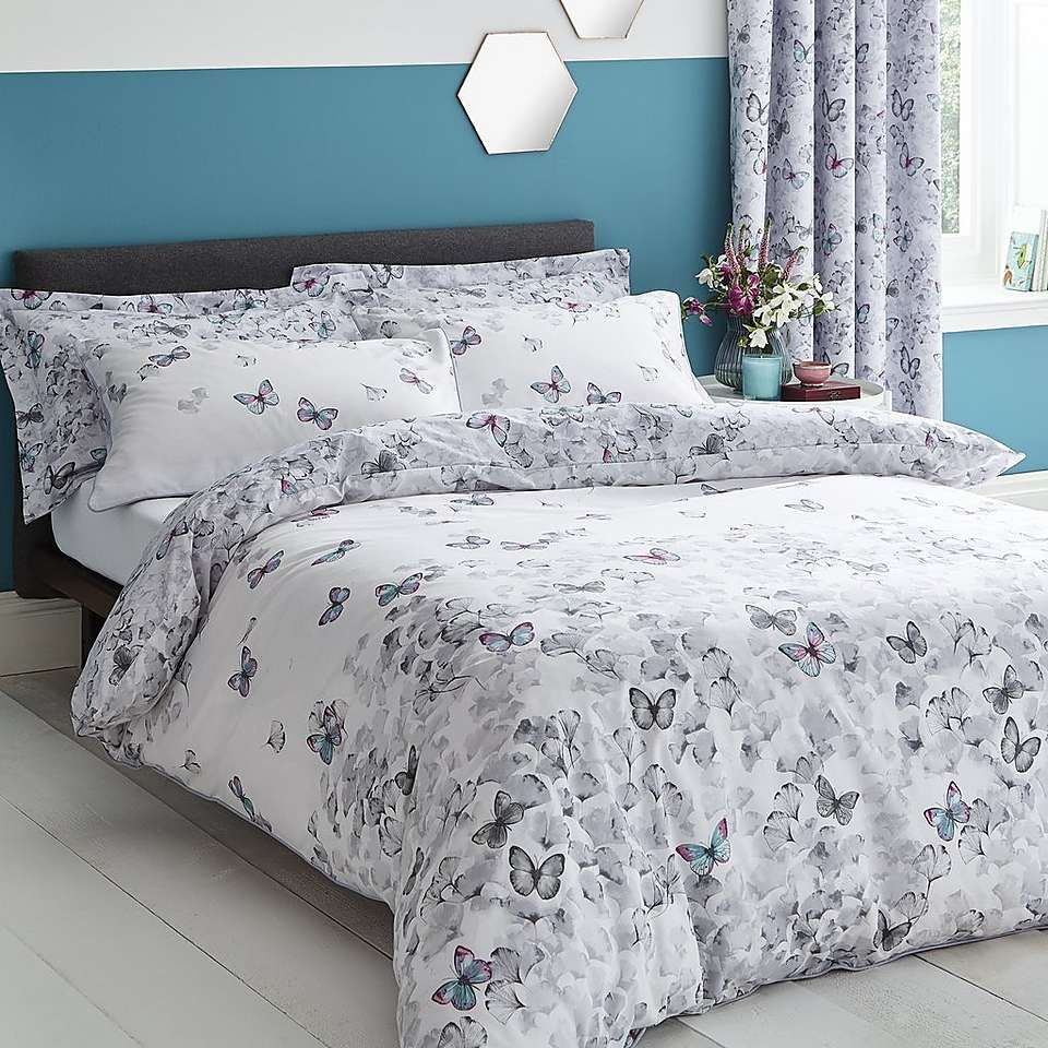 Fashion Butterfly Modern Duvet Cover Floral Bedding Set Single Double King Su...