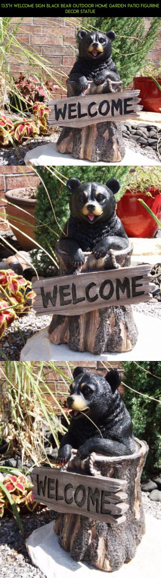 13 5 H Welcome Sign Black Bear Outdoor Home Garden Patio Figurine